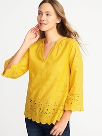 Relaxed Bell-Sleeve Cutwork Blouse for Women