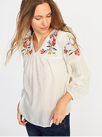 Relaxed Floral-Embroidered Blouse for Women