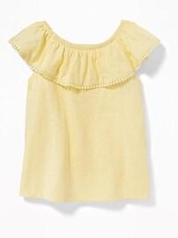 Slub-Knit Off-the-Shoulder Pom-Pom Top for Toddler Girls
