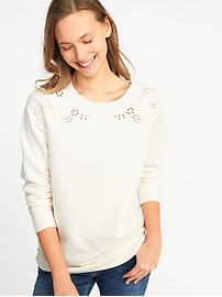 Relaxed Vintage Cutwork Sweatshirt for Women