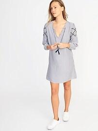 Tassel-Tie Boho Shift Dress for Women