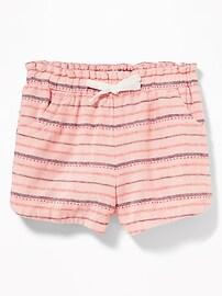 Dobby-Stripe Linen-Blend Shorts for Toddler Girls