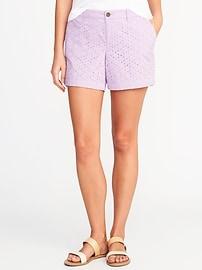 """Mid-Rise Plus-Size Everyday Eyelet Shorts (5"""")"""