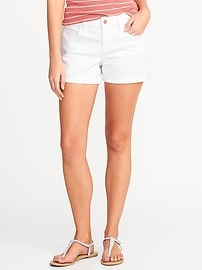 "White Denim Shorts for Women (3 1/2"")"