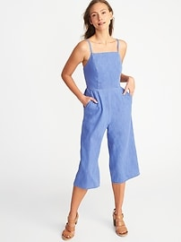 Sleeveless Chambray Cami Jumpsuit for Women