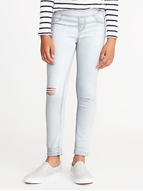 Raw-Edge Pull-On Ankle Jeggings for Girls