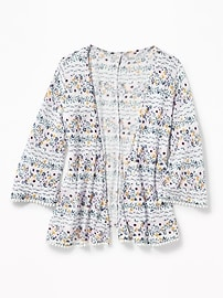Printed Open-Front Crepe Kimono for Girls