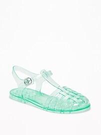 Glitter-Jelly Fisherman Sandals for Girls