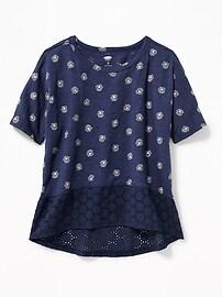 T-shirt col échancré à ourlet dentelle pour fille
