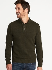 Mock-Neck Button-Front Sweater for Men