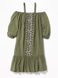 Embroidered Off-the-Shoulder Midi Dress for Girls