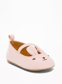 Sueded Pink Bunny Flats for Baby