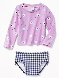 Printed Rashguard & Ruffled Bikini Bottom Swim Set for Baby