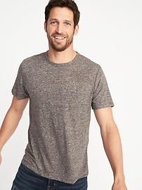 Linen-Blend Crew-Neck Pocket Tee for Men