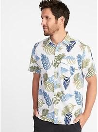Chemise à poche en mélange de lin, coupe standard pour homme