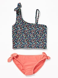 One-Shoulder Knotted-Tie Tankini for Girls