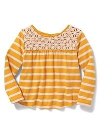 Lace-Yoke Babydoll Top for Toddler Girls