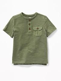 Slub-Knit Utility Henley for Toddler Boys
