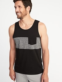 Pieced Color-Block Pocket Tank for Men