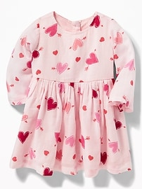 Heart-Print Crepe Fit & Flare Dress for Baby