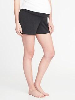 Maternity Rollover-Waist Yoga Shorts