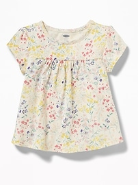 Floral-Print Jersey Babydoll Top for Toddler Girls
