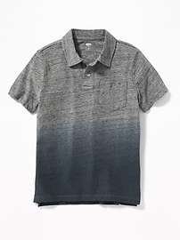 Dip-Dyed Slub-Knit Jersey Polo for Boys