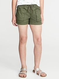 Twill Utility Pull-On Shorts for Girls