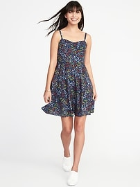 Fit & Flare Printed Cami Dress for Women