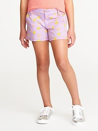 Fruit-Print Chino Shorts for Girls