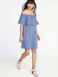 Off-the-Shoulder Linen-Blend Shift Dress for Women