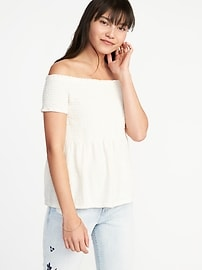 Smocked Off-the-Shoulder Peplum Top for Women