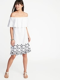 Off-the-Shoulder Linen-Blend Cutwork Dress for Women