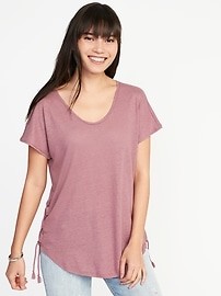Relaxed Side-Tie Linen-Blend Top for Women