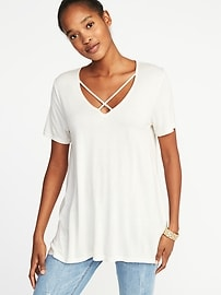 Lace-Up-Yoke Swing Top for Women