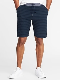 """Chambray-Waist Striped French Terry Shorts for Men (9"""")"""