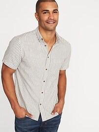 Chemise en sergé à rayures indigo, coupe étroite pour homme