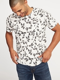 Printed Linen-Blend Pocket Tee for Men