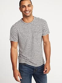 Linen-Blend Striped Pocket Tee for Men