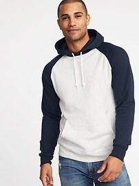 Raglan-Sleeve Fleece Pullover Hoodie for Men