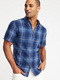 Chemise à carreaux indigo, coupe étroite pour homme