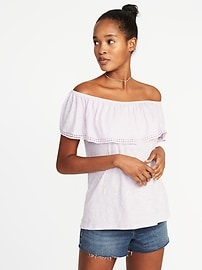 Relaxed Off-the-Shoulder Swing Top for Women