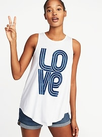 High-Neck Graphic Swing Tank for Women
