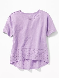 Lace-Hem Scoop-Neck Tee for Girls