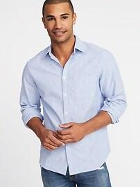 Chemise coupe standard en mélange de lin pour homme