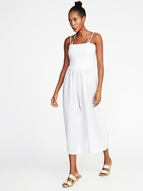 Smocked Wide-Leg Jumpsuit for Women