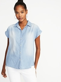 Relaxed Button-Front Chambray Shirt for Women