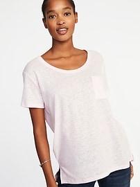 T-shirt à poche en mélange de lin, coupe boyfriend pour femme