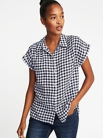 Relaxed Linen-Blend Gingham Shirt for Women