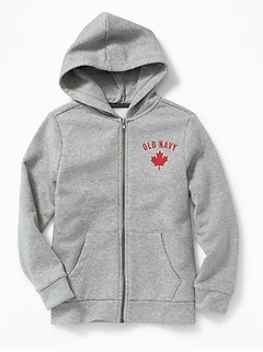 Embroidered Logo Zip Hoodie for Boys